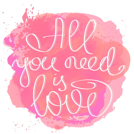ALL YOU NEED IS LOVE hand drawn lettering card illustration