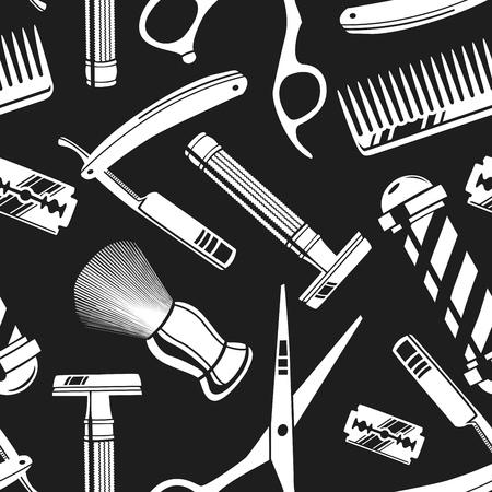 seamless tile: Seamless pattern background with vintage barber shop tools illustration Illustration