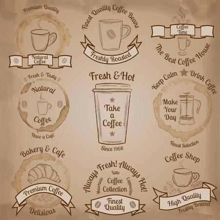 french board: Set of brown vintage coffee badges on beige background illustration
