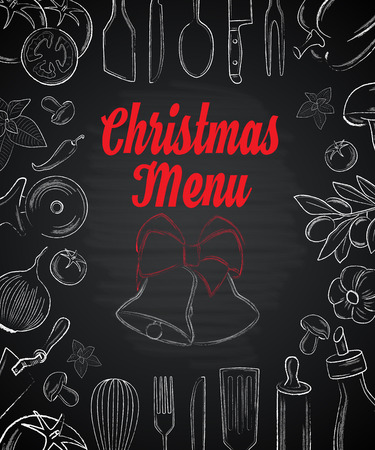 skimmer: Christas menu front page with hand drawn elements on black background vector illustration
