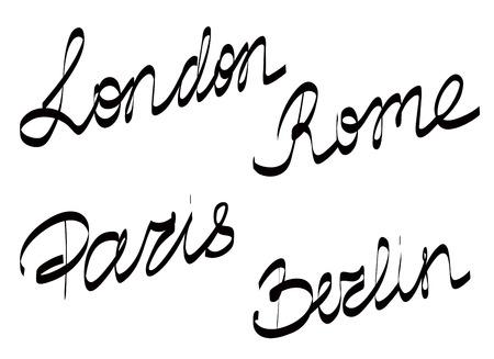 custom letters: Set of hand drawn lettering PARIS LONDON BERLIN ROME on white background vector illustration Illustration