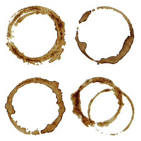 cappucino: Set of realistic coffee spots and blots on white background vector illustration