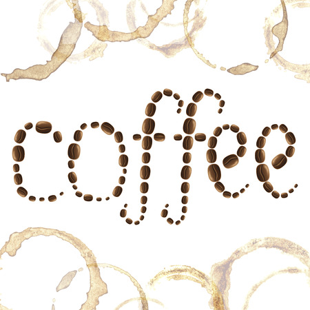 cappucino: Coffee grains word coffee with spots and blots on white background vector illustration