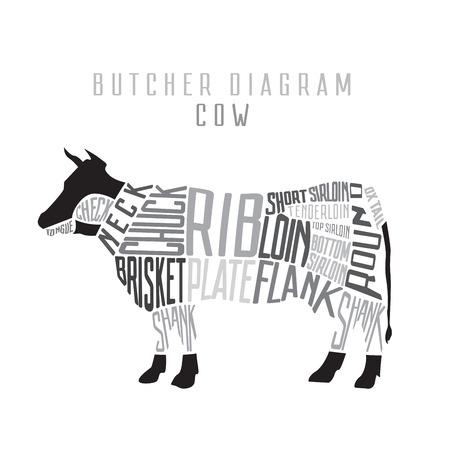 Cow butcher diagram. Cut of beef set. Typographic vintage vector illustration Vetores