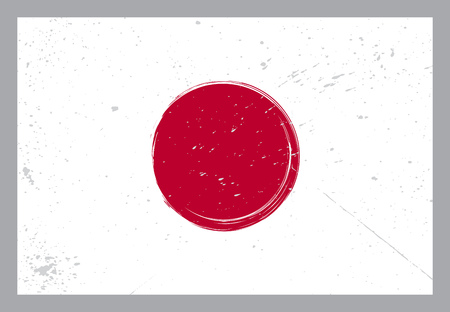 holiday card: Japan flag with grunge elements on grey background vector illustration