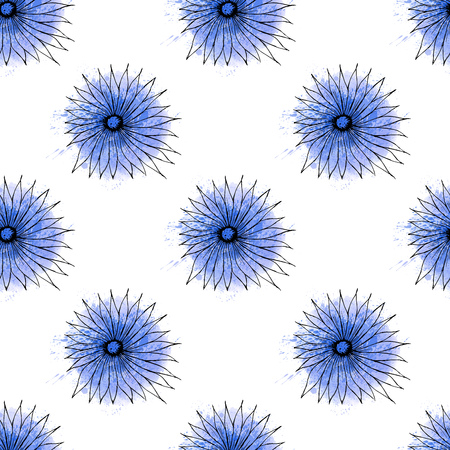 bakground: Seamless bakground pattern with hand drawn blue flowers on watercolor spots and splashes vector illustration Illustration