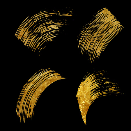 scrap gold: Set of gold brushstroke on black background vector illustration. Abstract hand drawn brushes