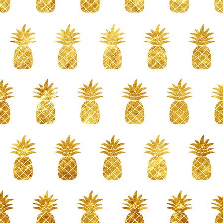 白い背景のベクトル図にゴールド パイナップル シームレス パターン