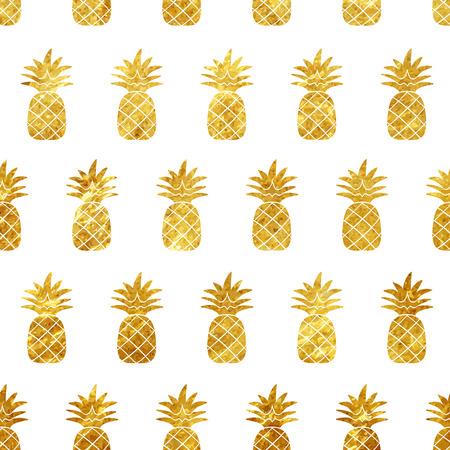 Gold pineapple seamless pattern on white background vector illustration
