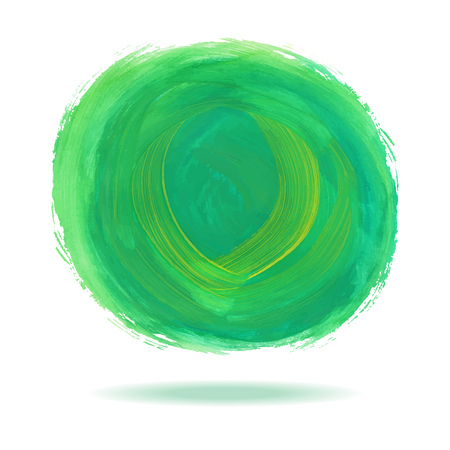 white bacground: Green watercolor circle spot with shadow on white bacground vector illustration