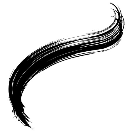 Grunge hand drawn black  paint brush. Curved brush stroke vector illustration  イラスト・ベクター素材