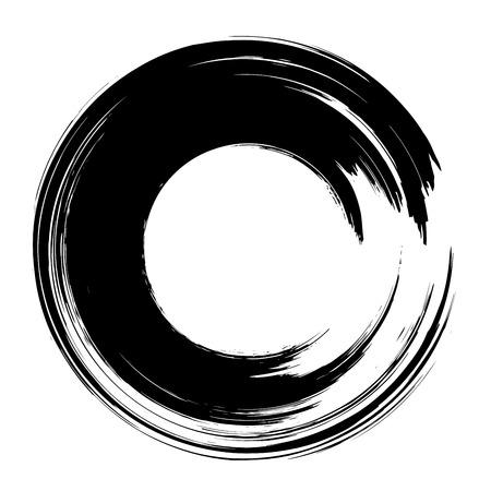 그런 지 손으로 그려진 된 검은 페인트 브러시 동그라미. 곡선 브러쉬 스트로크 벡터 일러스트 레이션