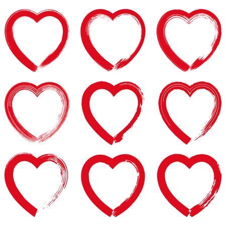 love shape: Set of red grunge hand drawn hearts on white background vector illustration. Hand drawn brush stroke Illustration