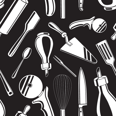 skimmer: Seamless pattern background with black hand drawn kitchen tools on white background vector illustration