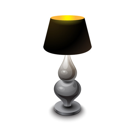 Black Shining Table Lamp With Metal Stem On White Background Vector  Illustration