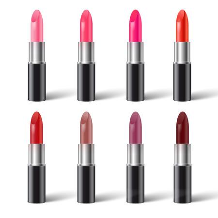 pomade: Set of realistic lipsticks in black tube vector illustration