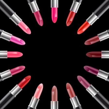 pomade: Set of realistic color lipsticks in black tube vector illustration Illustration
