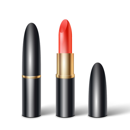 Set of realistic lipsticks in black tube with realistic shadow on white background vector illustration