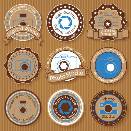 Set of vintage photo badges on paperboard background vector illustration Illustration