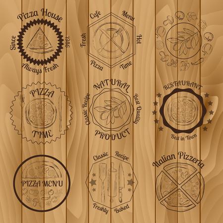 Set of pizza menu restaurant brown badges on wooden background vector illustration
