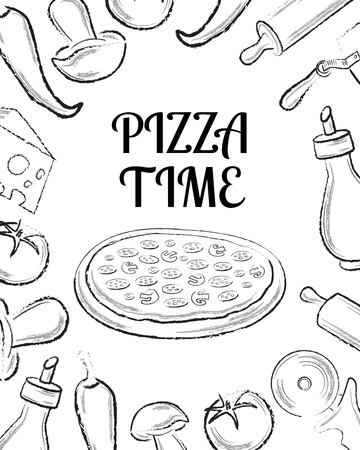 ingridients: Pizza cafe menu front page template with black hand drawn ingridients on white background vector illustration Illustration