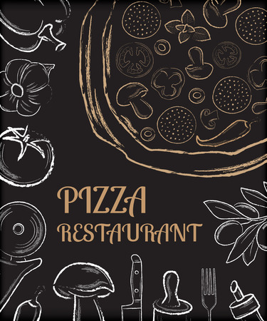 Pizza restaurant menu front page template with white hand drawn ingredients and beige pizza on black background vector illustration Vectores