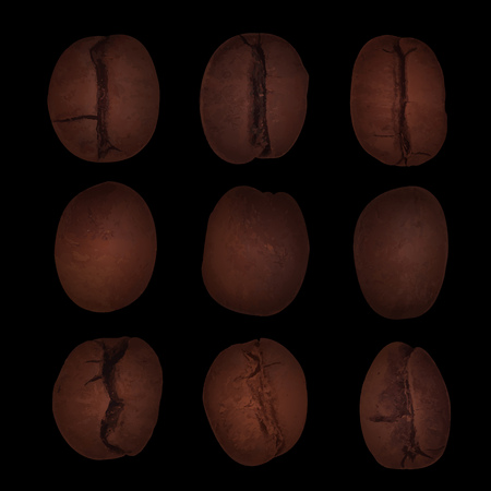 roasted: Set of nine realistic brown coffee beans on black background vector illustration