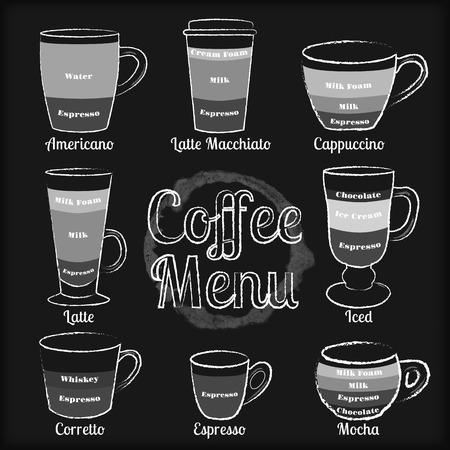 french board: Set of white hand drawn types of coffee cups and drinks on black chalkboard background vector illustration