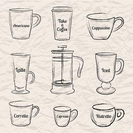 french board: Set of black hand drawn coffee cups and french press on crumpled paper background vector illustration