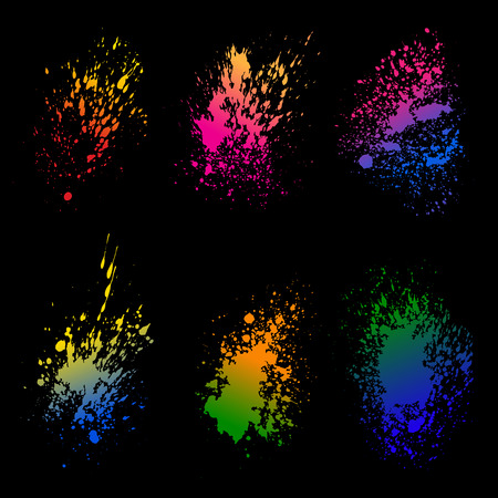 Set of colorful  ink splash on black background vector illustration. Grunge elements