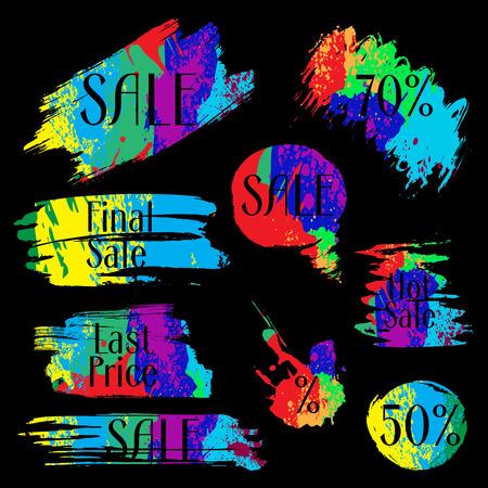 colorful grunge: Set of colorful  grunge banners for design. Label, blots, logo for sale vector illustration Illustration