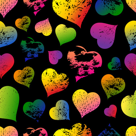 Seamless pattern with colorful hearts with carved grunge spots on white background vector illustration