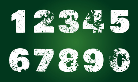 Set of numbers with carved grunge spots on green