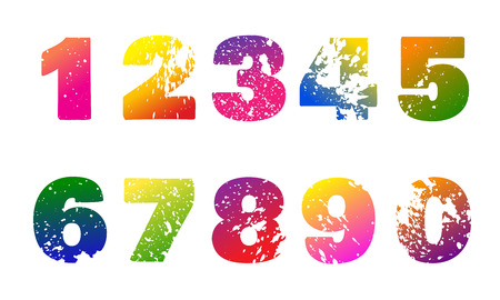 Set of colorful numbers with carved grunge spots on white  backg Illustration