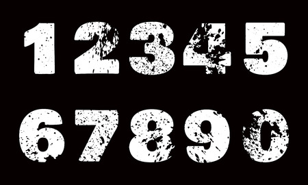 Set of white numbers with carved grunge spots on black backgroun Illustration