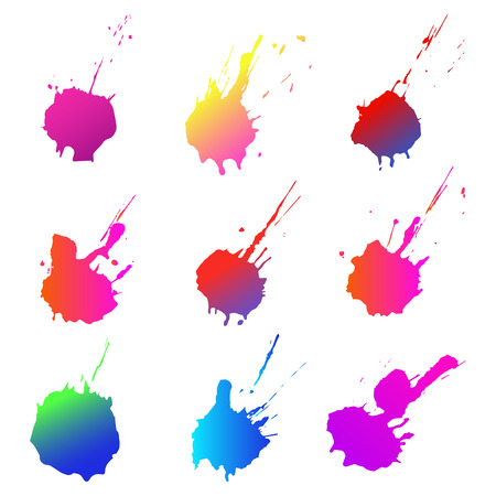 Set of colorful ink grunge spots on white