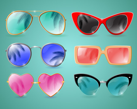 Set of colorful realistic sunglasses with palm reflection