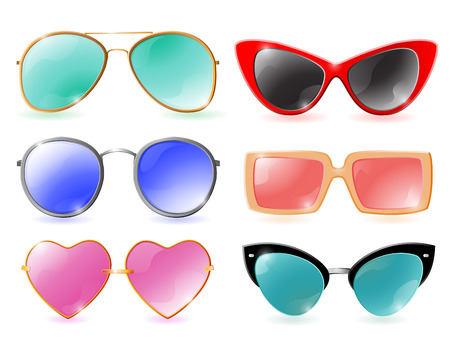 Set of colorful realistic sunglasses on white background