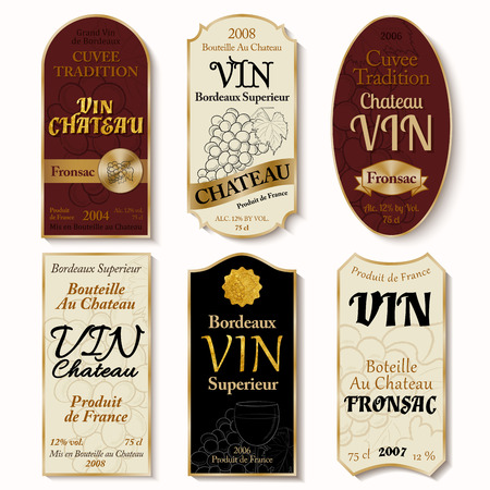 Set of vintage wine labels with hand-drawn details on white back