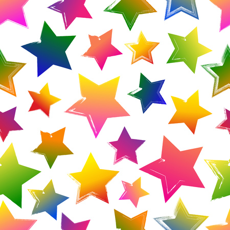 Seamless pattern with colorful grunge hand drawn stars on white