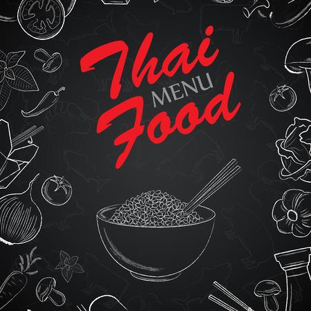 Thaise menu voorpagina met de hand getekende elementen op zwarte backgroun