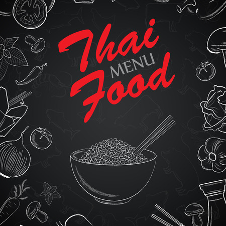 Thai menu front page with hand drawn elements on black backgroun Stock Illustratie