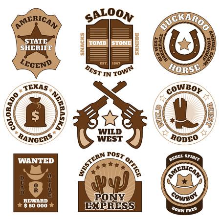 buckaroo: Vintage wild west badges on white background