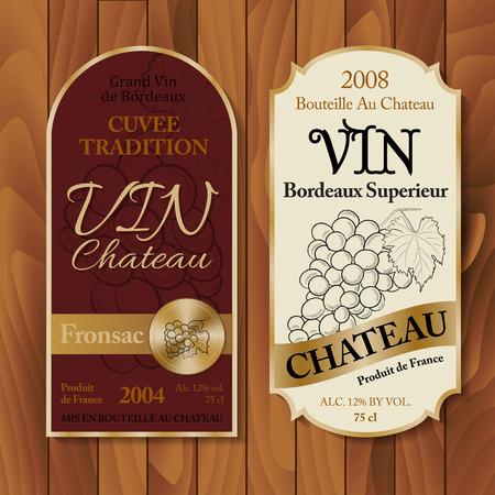 Etichette di vino vintage su sfondo di legno Vettoriali