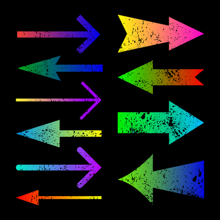 Set of frunge color arrows design  with carved ink  spots on whi