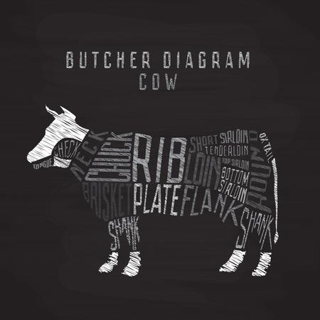 Krijt koe slager diagram. Bezuiniging van rundvlees set. typografische vintage