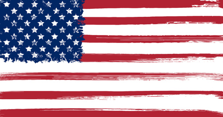 american history: USA flag with ink grunge elements