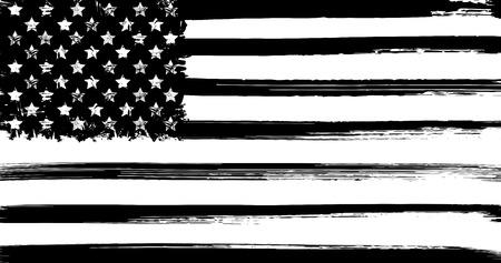 Bandera de los EEUU con elementos del grunge de la tinta Ilustración de vector