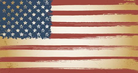 american history: American themed vintage flag background with ink grunge elements