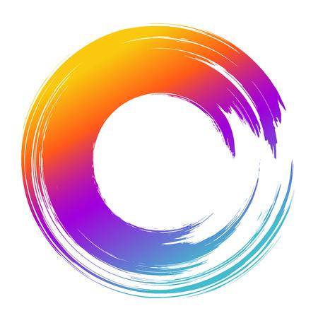 Grunge hand drawn color paintbrush circle. Curved brush stroke